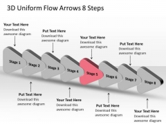 3d Uniform Flow Arrows 8 Steps Business Chart In Business PowerPoint Templates