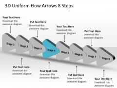 3d Uniform Flow Arrows 8 Steps Chart In Business PowerPoint Templates