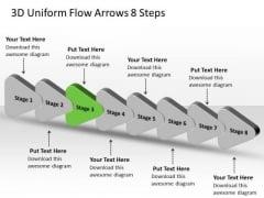 3d Uniform Flow Arrows 8 Steps Creating Flowcharts Visio PowerPoint Slides