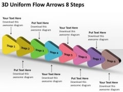 3d Uniform Flow Arrows 8 Steps PowerPoint Chart Slides