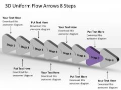3d Uniform Flow Arrows 8 Steps Ppt Best Chart PowerPoint Slides
