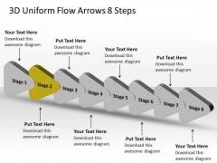 3d Uniform Flow Arrows 8 Steps Ppt Business Production Plan PowerPoint Slides