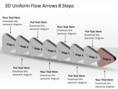 3d Uniform Flow Arrows 8 Steps Process Charts PowerPoint Slides