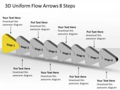 3d Uniform Flow Arrows 8 Steps Process Flowchart Examples PowerPoint Templates