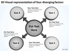 3d Visual Representation Of Four Diverging Factors Processs And PowerPoint Slides