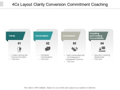 4Cs Layout Clarity Conversion Commitment Coaching Ppt PowerPoint Presentation Summary Elements