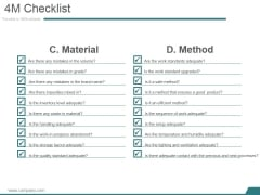 4M Checklist Template 2 Ppt PowerPoint Presentation Ideas