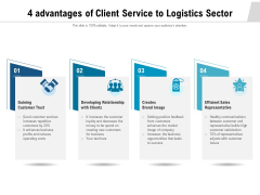 4 Advantages Of Client Service To Logistics Sector Ppt PowerPoint Presentation File Icons PDF