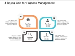 4 Boxes Grid For Process Management Ppt PowerPoint Presentation Summary Graphics