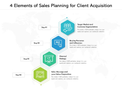 4 Elements Of Sales Planning For Client Acquisition Ppt PowerPoint Presentation File Slideshow PDF