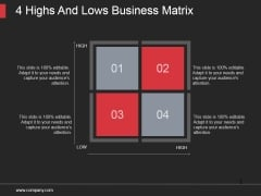 4 Highs And Lows Business Matrix Ppt PowerPoint Presentation Sample