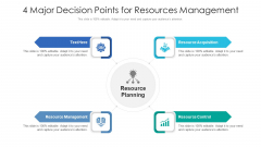 4 Major Decision Points For Resources Management Ppt PowerPoint Presentation Gallery Layouts PDF