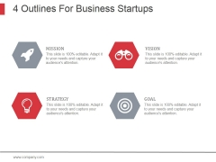4 Outlines For Business Startups Ppt PowerPoint Presentation Background Designs