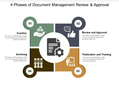 4 Phases Of Document Management Review And Approval Ppt PowerPoint Presentation Slides Icons