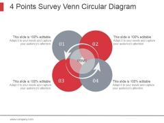 4 Points Survey Venn Circular Diagram Ppt PowerPoint Presentation Visuals