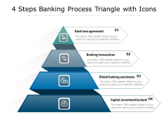 4 Steps Banking Process Triangle With Icons Ppt PowerPoint Presentation Gallery Files PDF