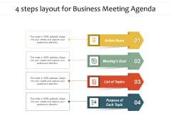 4 Steps Layout For Business Meeting Agenda Ppt PowerPoint Presentation Pictures Slide PDF