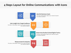 4 Steps Layout For Online Communications With Icons Ppt PowerPoint Presentation Summary Guidelines PDF