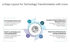 4 Steps Layout For Technology Transformation With Icons Ppt PowerPoint Presentation Professional Maker PDF