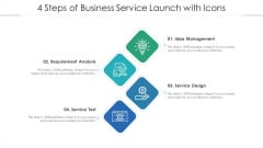 4 Steps Of Business Service Launch With Icons Ppt PowerPoint Presentation File Pictures PDF