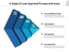 4 Steps Of Loan Approval Process With Icons Ppt PowerPoint Presentation File Graphics Download PDF