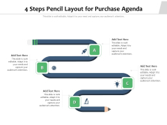 4 Steps Pencil Layout For Purchase Agenda Ppt PowerPoint Presentation Icon Slides PDF