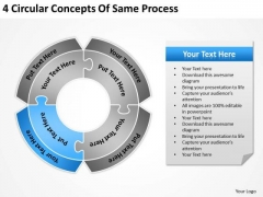4 Circular Concepts Of Same Process Components Business Plan PowerPoint Templates