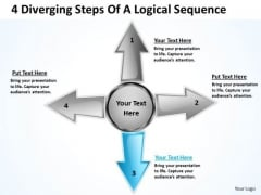 4 Diverging Steps Of A Logical Sequence Ppt Cycle Chart PowerPoint Templates