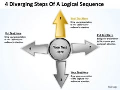 4 Diverging Steps Of Logical Sequence Circular Arrow Diagram PowerPoint Templates