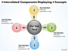 4 Interrelated Components Displaying Concepts Circular Flow Chart PowerPoint Slides