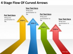 4 Stage Flow Of Curved Arrows Internet Business Plan PowerPoint Templates