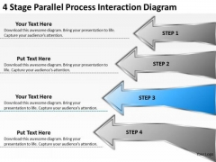 4 Stage Parallel Process Interaction Diagram Business Proposal Examples PowerPoint Slides