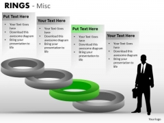 4 Stage Step Stairs Diagrams With Rings PowerPoint Slides