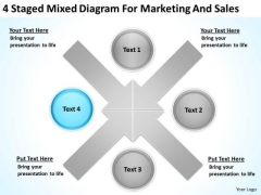 4 Staged Mixed Diagram For Marketing And Sales Ppt Business Case Template PowerPoint Templates