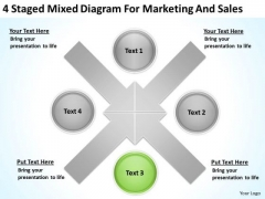 4 Staged Mixed Diagram For Marketing And Sales Ppt Simple Business Plans PowerPoint Slides
