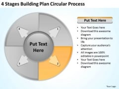 4 Stages Buliding Plan Circular Process Business Development PowerPoint Templates
