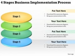 4 Stages Business Implementation Process Small Plan Sample PowerPoint Slides