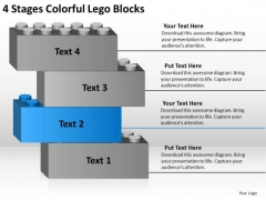 4 Stages Colorful Lego Blocks Business Action Plan Template PowerPoint Slides