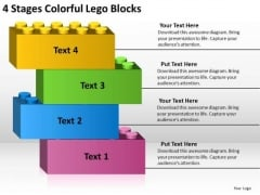4 Stages Colorful Lego Blocks Business Plan Format Outline PowerPoint Templates