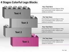 4 Stages Colorful Lego Blocks Prepare Business Plan PowerPoint Templates