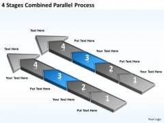 4 Stages Combined Parallel Process Business Plan Models PowerPoint Templates