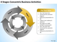 4 Stages Concentric Business Activities Plan Help PowerPoint Templates