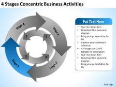 4 Stages Concentric Business Activities Sample Nonprofit Plan PowerPoint Templates