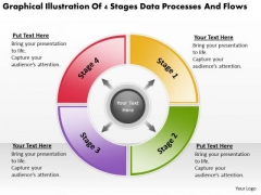 4 Stages Data Processes And Flows Business Plan Small PowerPoint Slides