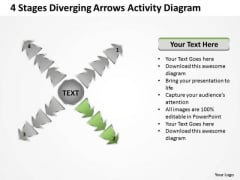 4 Stages Diverging Arrows Activity Diagram Ppt Cycle Chart PowerPoint Templates