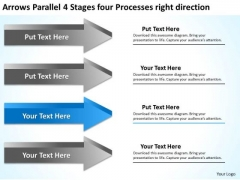 4 Stages Four Processes Right Direction Best Business Plan Software PowerPoint Slides
