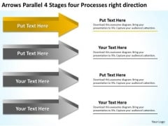 4 Stages Four Processes Right Direction Ppt Software Business Plan Example PowerPoint Templates