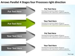 4 Stages Four Processes Right Direction Small Business Plan Template Free PowerPoint Slides