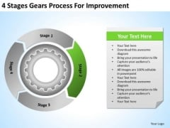 4 Stages Gears Process For Improvement Business Plan Template PowerPoint Templates