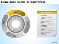 4 Stages Gears Process For Improvement Catering Business Plan Sample PowerPoint Slides